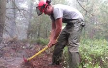 Crews work to build a fire break at Ellice Swamp. Photo and video by the Upper Thames River Conservation Authority.