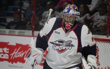 Windsor Spitfires goaltender Michael DiPietro in the net at the WFCU Centre on September 22, 2016. (Photo by Ricardo Veneza)