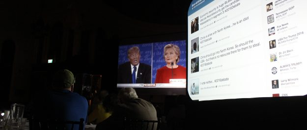 A viewing party for the first US presidential debate between Hillary Clinton and Donald Trump is held at the Water's Edge Event Centre in Windsor on September 26, 2016. (Photo by Ricardo Veneza)