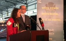 Olympic Bronze Medalist Kylie Masse and Windsor Mayor Drew Dilkens speak to media at the WFCU Centre in Windsor, September 30, 2016. (Photo by Mike Vlasveld)