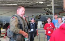 CF-18 pilot Captain Ryan Kean speaks to Grade 7 students from Lord Nelson PS at the Jet Aircraft Museum, September 15, 2016. (Photo by Miranda Chant, Blackburn News.)