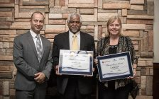 (l-r); Bluewater Health Chief of Professional Staff Dr. Mike Haddad and Patients' Choice Award recipients Dr. Anthony Lena and Dr. Susan Mather. Submitted photo.