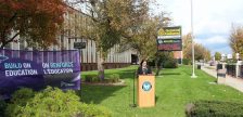 Director of Education at the WECDSB Erin Kelly makes funding announcement at General Amherst High School in Amherstburg, October 31, 2016. (Maureen Revait)
