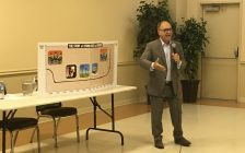 Former MPP Rosario Marchese chair of Citizens Coalition Against Privatization speaks at a town hall meeting in Maidstone, October 11, 2016. (Photo by Maureen Revait)