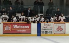 Head Coach Jason Brooks, centre on the bench, has guided the Listowel Cyclones to a perfect 8-0 start to 2016-17. They beat the Guelph Hurricanes last night at home 5-1. (Photo by Ryan Drury)