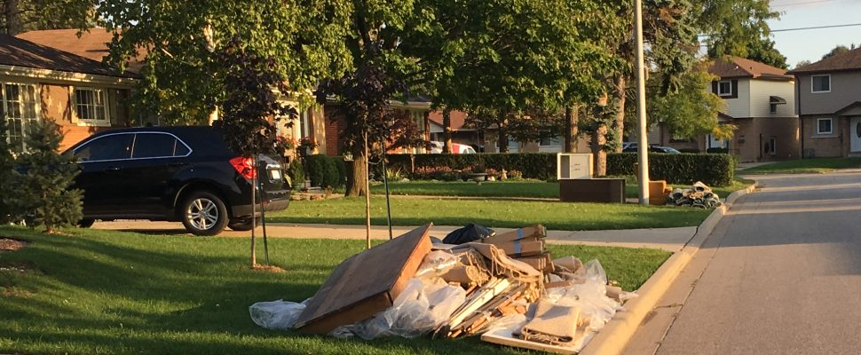 Flood debris seen on Watson Ave. in Windsor on October 3, 2016. (Submitted photo)