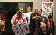 Striking library workers in Essex County attend the regular meeting of Essex County Council on October 19, 2016. (Photo by Ricardo Veneza)