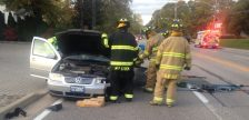Firefighters extricate the driver of a vehicle involved in a head-on crash on Front Rd. in Amherstburg, October 25, 2016. (Contributed Photo)