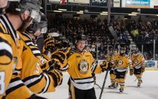 Ryan Mcgregor celebrates a goal against Sault Ste. Marie. (photo by Metcalfe Photography)