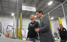 London North Centre MP Peter Fragiskatos and Production Supervisor Jason Tong touring the ArcelorMittal Tailored Blanks facility in Woodstock, October 12, 2016. (Photo by Miranda Chant, Blackburn News)