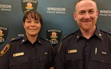 Newly promoted Superintendents with the Windsor Police Service, Pamela Mizuno (left) and Brendan Dodd (right) pose for a photo on October 28, 2016. (Photo by Ricardo Veneza)