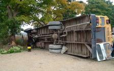 School bus overturned on Twelve Mile Rd. between Adelaide St. and Highbury Ave., October 4, 2016. Photo courtesy of West Region OPP.