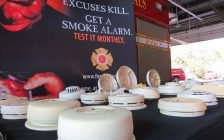 The London Fire Department displays worn out and obsolete smoke alarms removed from London homes, October 7, 2016. (Photo by Miranda Chant, Blackburn News)