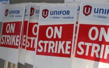 Strike signs in preparation of a potential strike, October 7, 2016. (Photo by Maureen Revait)