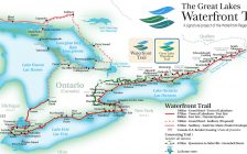 Full scale map showing the entire Great Lakes Waterfront Trail project. (Image courtesy of the Waterfront Regeneration Trust 2016)