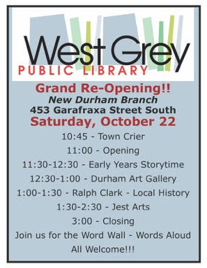 West Grey Public Library Hosting Grand Re-Opening In Durham