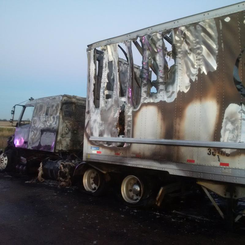 The scene after a transport truck fire on the WB Hwy. 401. November 14, 2016. (Photo courtesy of Essex County OPP)