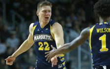 Wally Ellenson as a member of Marquette University's men's basketball team, 2015-16. (Photo courtesy the Windsor Express)