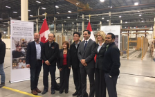 Local dignitaries at the Hanwha L&C Canada Inc. facility on Innovation Dr., November 25, 2016. Photo courtesy of the London Economic Development Corporation.