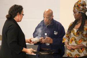 An Indigenous smudging ceremony is held to open the Anti-Racism Directorate meeting held in Windsor on November 28, 2016. (Photo by Ricardo Veneza)