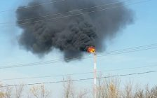 Flames and black smoke spew from a Plains Midstream stack Nov. 15, 2016 (Photo courtesy of Greg Groulx)