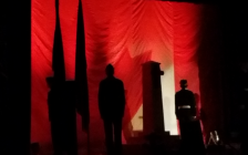 Cadets stand at attention on stage during Chatham-Kent Secondary School's Remembrance Day Assembly, November 10, 2016 (Photo by Jake Kislinsky)