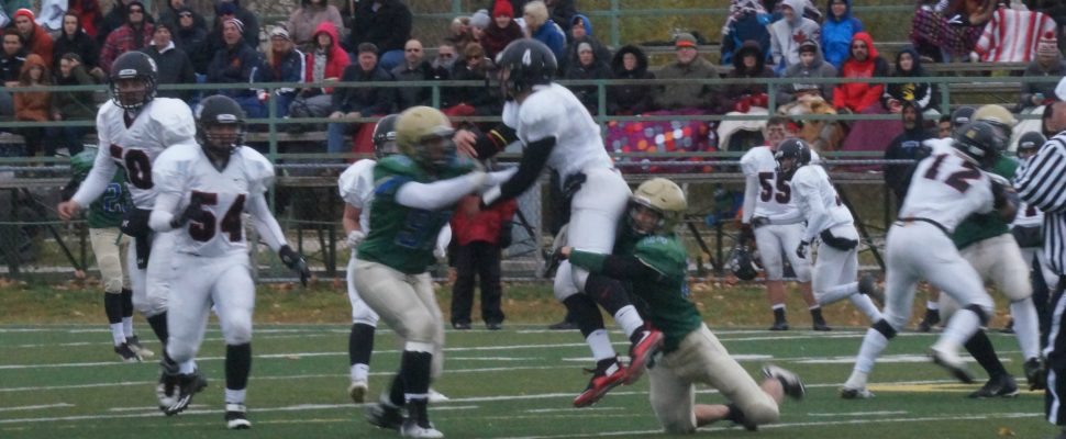 Pressure on the QB forces an interception in the third quarter.  Nov 19 ,2016 (photo by Jake Jeffrey)