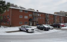 A London police cruiser remains outside of 135 Connaught Ave., following a fatal shooting, December 29, 2016. (Photo by Miranda Chant, Blackburn News.)