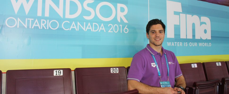 Charles van Impe from Overijse, Belgium, about 20 minutes outside of Brussels, is one of 800 volunteers in Windsor for the 13th FINA World Swimming Championships. Photo taken December 2, 2016. (Photo by Ricardo Veneza)