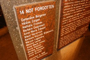 The names of the 14 women killed in the December 6, 1989 massacre at Montreal's Ecole Polytechnique engraved on a memorail at the University of Windsor. (Photo by Ricardo Veneza)