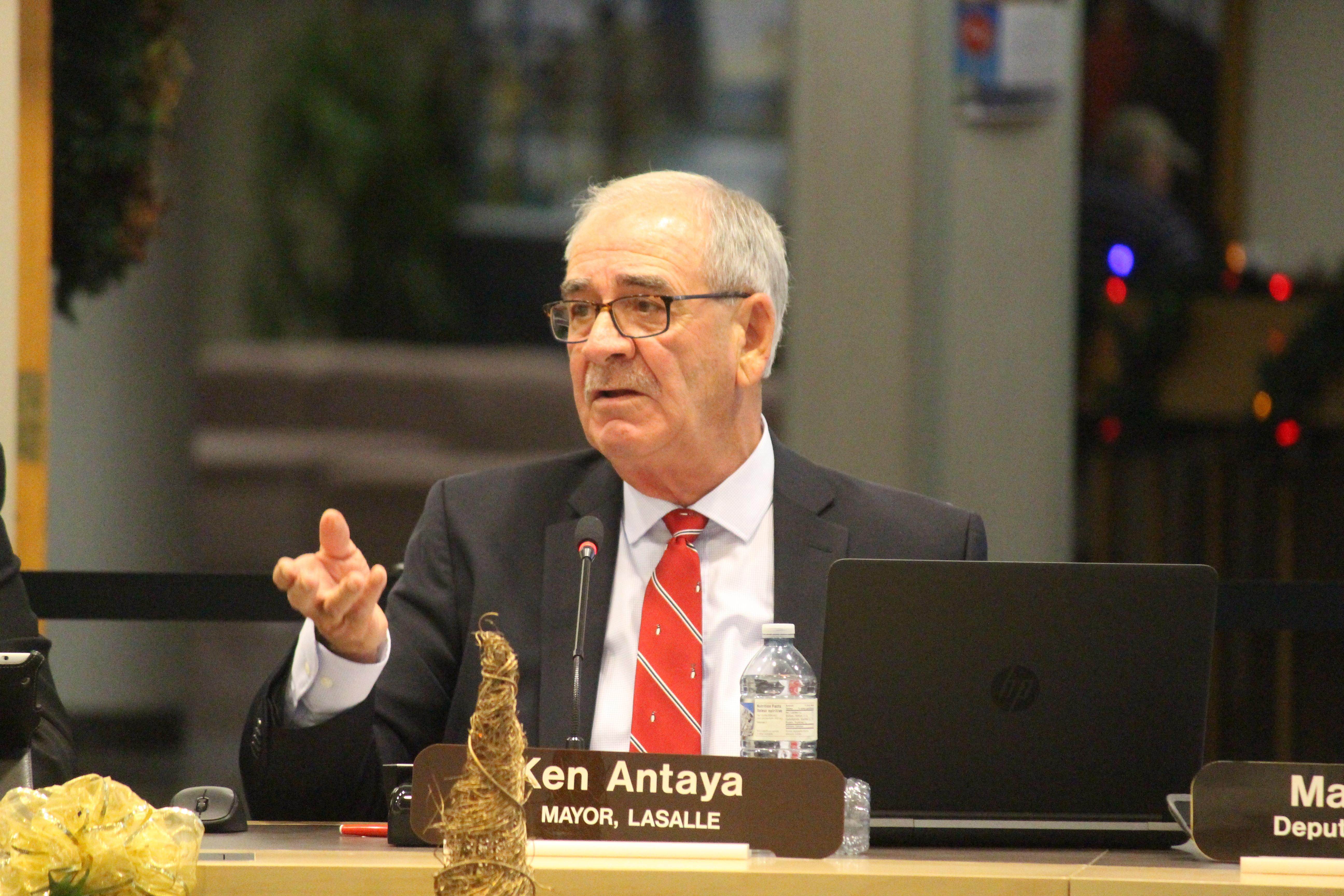 LaSalle Mayor Ken Antaya is seen at the regular council meeting for the County of Essex where the proposed 2017 budget for the Essex-Windsor Solid Waste Authority is discussed on December 7, 2016. (Photo by Ricardo Veneza)