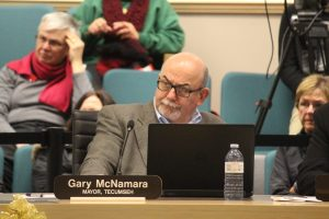 Tecumseh Mayor Gary McNamara is seen at the regular council meeting for the County of Essex where the proposed 2017 budget for the Essex-Windsor Solid Waste Authority is discussed on December 7, 2016. (Photo by Ricardo Veneza)