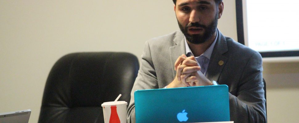 Moussa Hamadani, president of the University of Windsor Students' Alliance, attends the regular meeting of the board on December 8, 2016. (Photo by Ricardo Veneza)