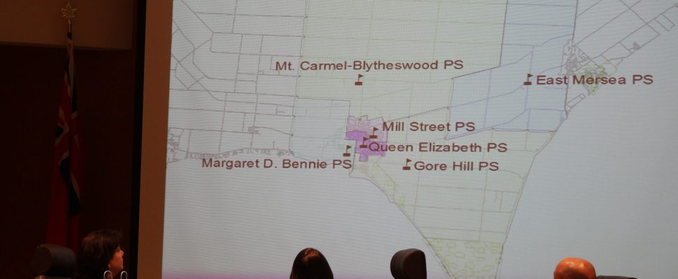 A map shows Leamington area schools part of an accommodation review launched by the GECDSB at the board's regular meeting on December 13, 2016. (Photo by Ricardo Veneza)