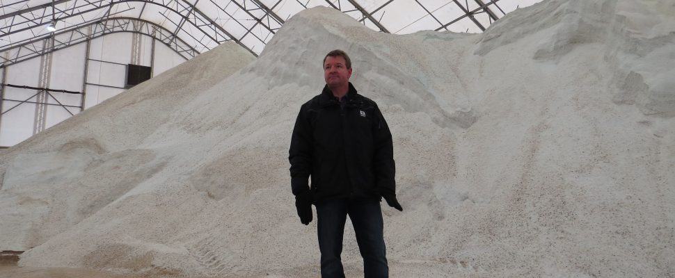 John Parsons, London's Manager of Transportation and Roadside Operations, inside the salt dome at the Exeter Road Operations Centre, December 8, 2016. The dome can hold up to 8,000 tones of salt.(Photo by Miranda Chant, Blackburn News.)