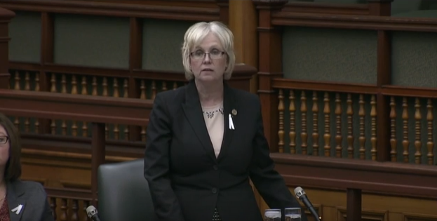 London West MPP Peggy Sattler speaking during Question Period at Queen's Park, December 6, 2016.