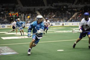 Sarnia's Kyle Jackson in ation with the NLL's Rochester Knighthawks. (photo by Ward Laforme Jr)