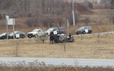 Vehicle involved in crash at Hwy. 401 and Wellington Rd., January 4, 2016. (Photo by Miranda Chant, Blackburn News.)