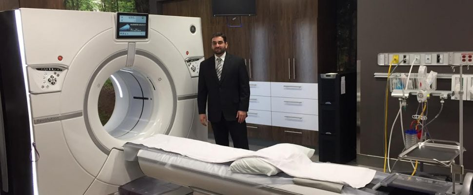 Bluewater Health Medical Director of Diagnostic Imaging Dr. Youssef Almalki shows off the new GE Revolution CT machine at the Sarnia hospital. January 11, 2017 BlackburnNews.com photo by Melanie Irwin