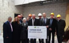 Grey County councillors present cheque to Chapman House officials. (photo by Kirk Scott)