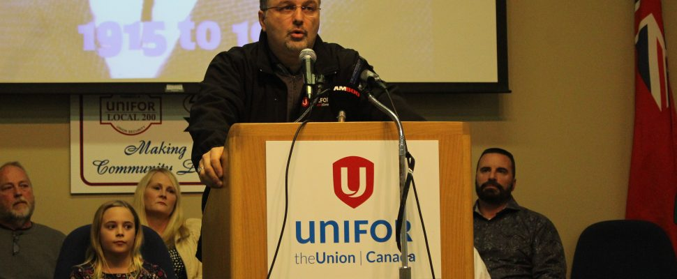 Unifor Local 444 President Dino Chiodo speaks at the Unifor hall on Turner Rd. in Windsor, January 24, 2017. (Photo by Mike Vlasveld)