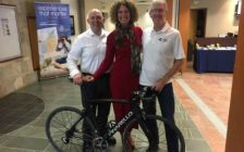 Bluewater International Granfondo Vice Chair Jon Palumbo, Steering Committee Member Anita Trusler and Chair Ken MacAlpine announce plans for the 2017 event. January 10, 2017 BlackburnNews.com photo by Melanie Irwin