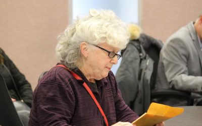 Resident Myra Horvath speaks against Huron Lodge outsourcing at Windsor City Council, January 16, 2017. (Photo by Maureen Revait)