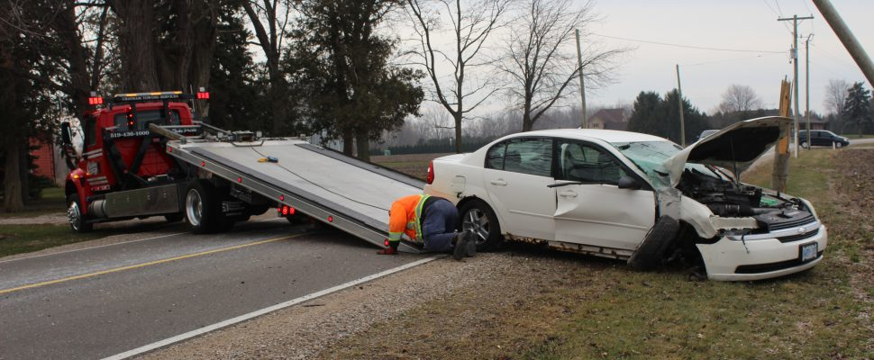 Single car crash sends teen to hospital. January 11, 2017 (Photo by Paul Pedro)