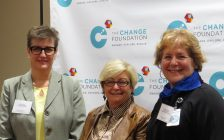 President and CEO of The Changing Foundation Cathy Fooks, family caregiver Carol Riddell-Elson, and President and CEO of St. Joseph's Health Care London Dr. Gillian Kernaghan at Changing Care announcement at the Parkwood Institute, January 31, 2017. (Photo by Miranda Chant, Blackburn News.)