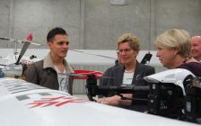 Premier Kathleen Wynne and Deputy Premier Deb Matthews learn about drones from Fanshawe College student Nikola Zivkovic at the Norton Wolf School of Aviation Technology, January 24,2017. (Photo by Miranda Chant, Blackburn News.)