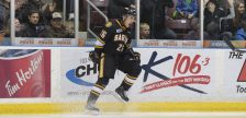 Sarnia centre Franco Sproviero reacts during the Sting's 5-3 loss to London in Sarnia on Jan 1, 2017 (Photo courtesy of Metcalfe Photography)