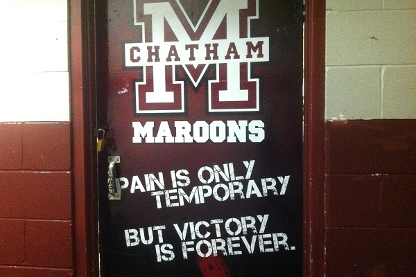 Door to the Chatham Maroons locker room at Memorial Arena. (BlackburnNews.com file photo)