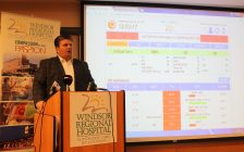 Windsor Regional Hospital CEO David Musyj speaks to media about over-capacity issues at the hospital, January 18, 2017. (Photo by Maureen Revait)