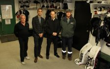 (Left-Right): Petrolia Squires Trainer Ron Goodacre, sofSURFACES Automation and Controls Technician Seth Prins, sofSURFACES Director of Marketing Chris Chartrand and Greenwood Rec. Centre Manager Doug Vasey. Submitted photo.